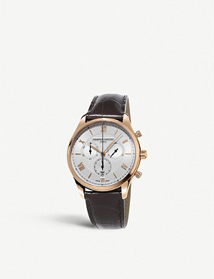 FREDERIQUE CONSTANT FC-292MV5B4 Classics chronograph quartz rose-gold plated stainless steel and leather watch
