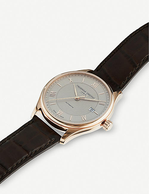 FREDERIQUE CONSTANT FC-303MLG5B4 Classic Index Automatic rose gold-plated stainless steel and leather watch