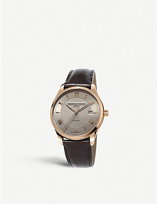 FREDERIQUE CONSTANT: FC-303MLG5B4 Classic Index Automatic rose gold-plated stainless steel and leather watch
