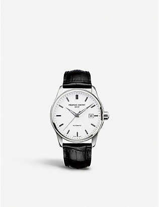 FREDERIQUE CONSTANT: FC-303S5B6 Index Slim stainless steel and leather watch