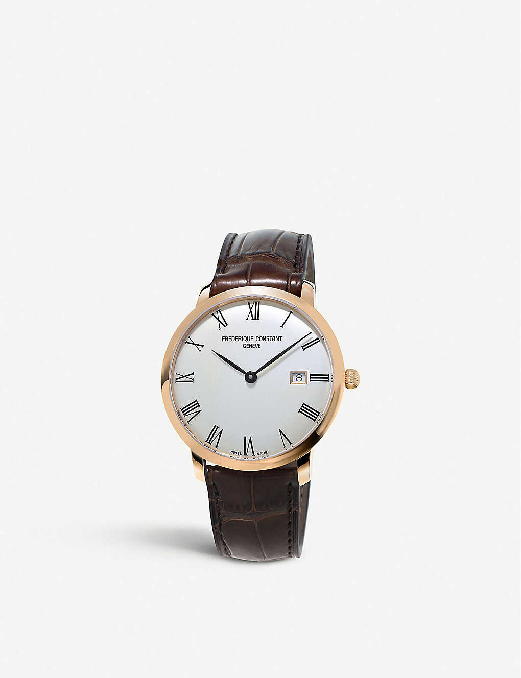 FREDERIQUE CONSTANT: FC-306MR4S4 slimline gold-plated stainless steel and leather automatic watch