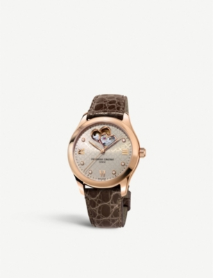 Frederique Constant FC-310LGDHB3B4 Double Heart diamond, rose-gold plated and leather watch