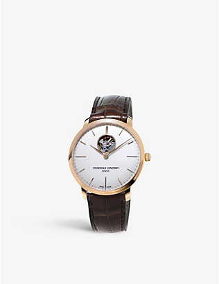 FREDERIQUE CONSTANT: FC-312V4S4 slimline gold-plated stainless steel and leather watch