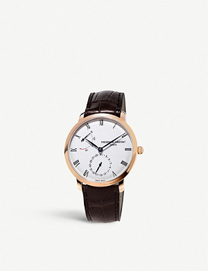 FREDERIQUE CONSTANT FC.723WR3S4 Slimline rose-gold and leather watch