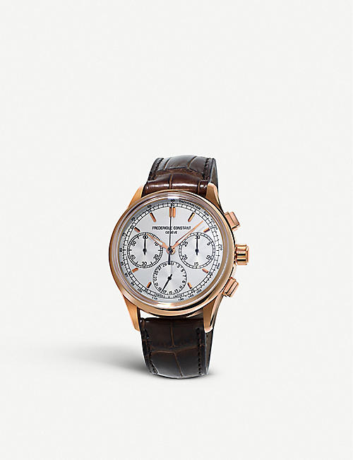 d21e7063dd8 FREDERIQUE CONSTANT FC-760V4H4 Flyback rose gold-plated and alligator strap  chronograph watch