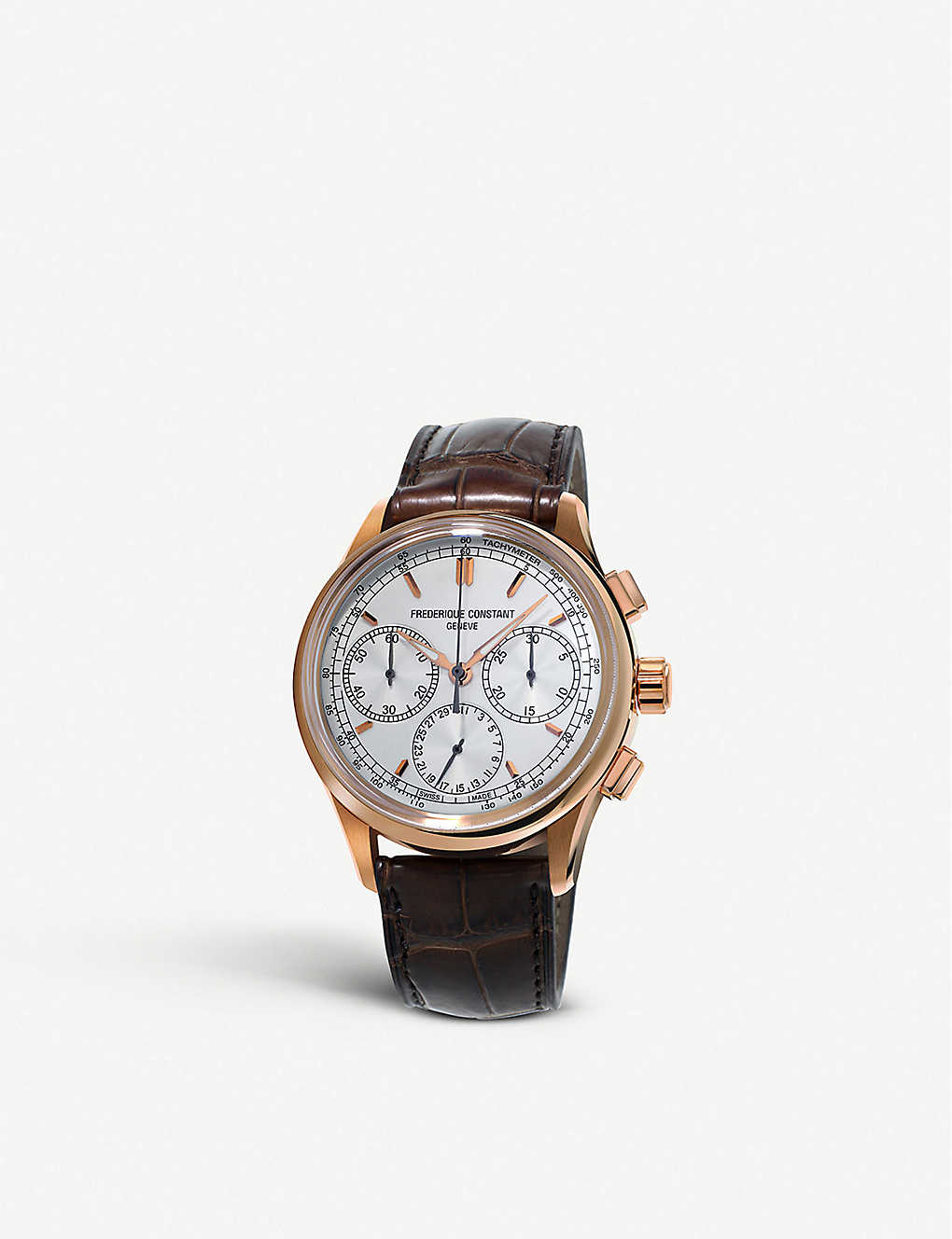 FREDERIQUE CONSTANT: FC-760V4H4 Flyback rose gold-plated and alligator strap chronograph watch