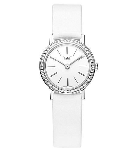 Piaget ALTIPLANO 18K WHITE-GOLD, DIAMOND AND LEATHER WATCH