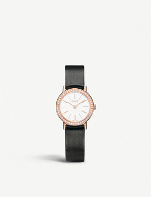 PIAGET G0A36534 Altiplano 18ct rose-gold, diamond and satin strap watch