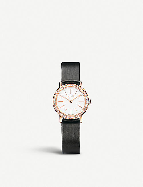 PIAGET: G0A36534 Altiplano 18ct rose-gold, diamond and satin strap watch