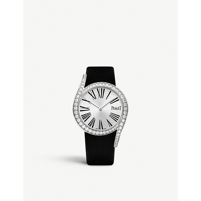 PIAGET | G0A39166 Limelight Gala 18ct White-Gold, Diamond And Satin Watch | Goxip