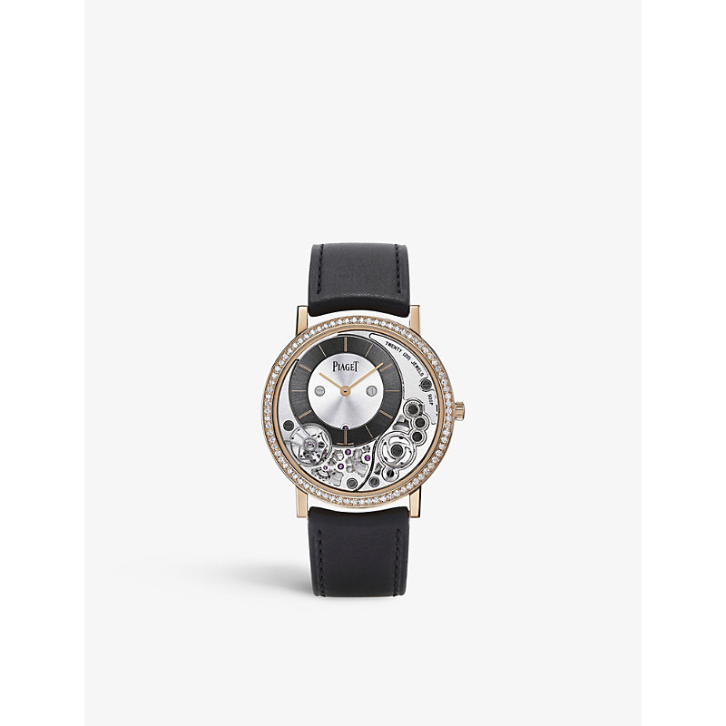PIAGET | G0A40013 Altiplano 18ct Pink-Gold, Diamond And Alligator-Leather Watch | Goxip