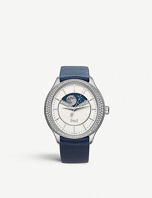 PIAGET: G0A40111 Limelight Stella 18ct white-gold, diamond and leather watch