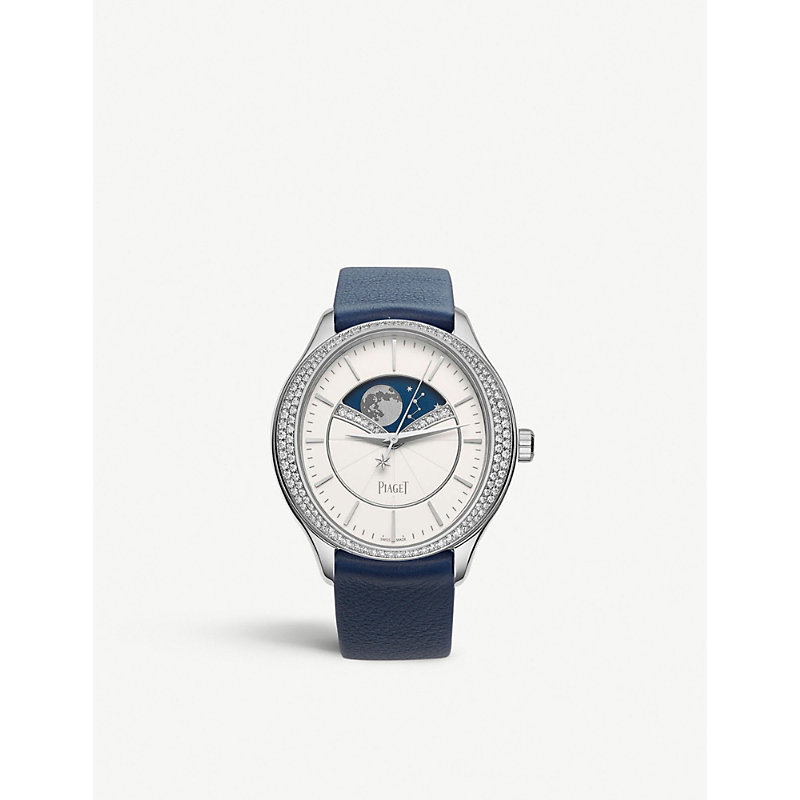 PIAGET | G0A40111 Limelight Stella 18ct White-Gold, Diamond And Leather Watch | Goxip