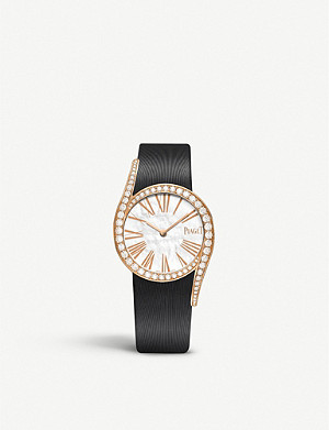 PIAGET G0A41291 Limelight Gala 18ct pink-gold, diamond and satin watch