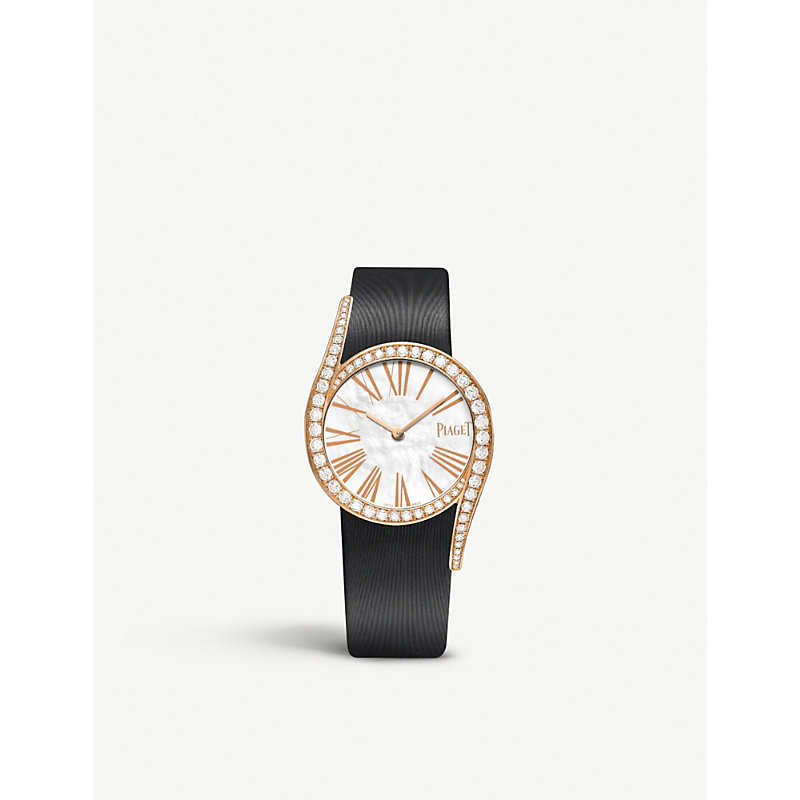 PIAGET | G0A41291 Limelight Gala 18ct Pink-Gold, Diamond And Satin Watch | Goxip