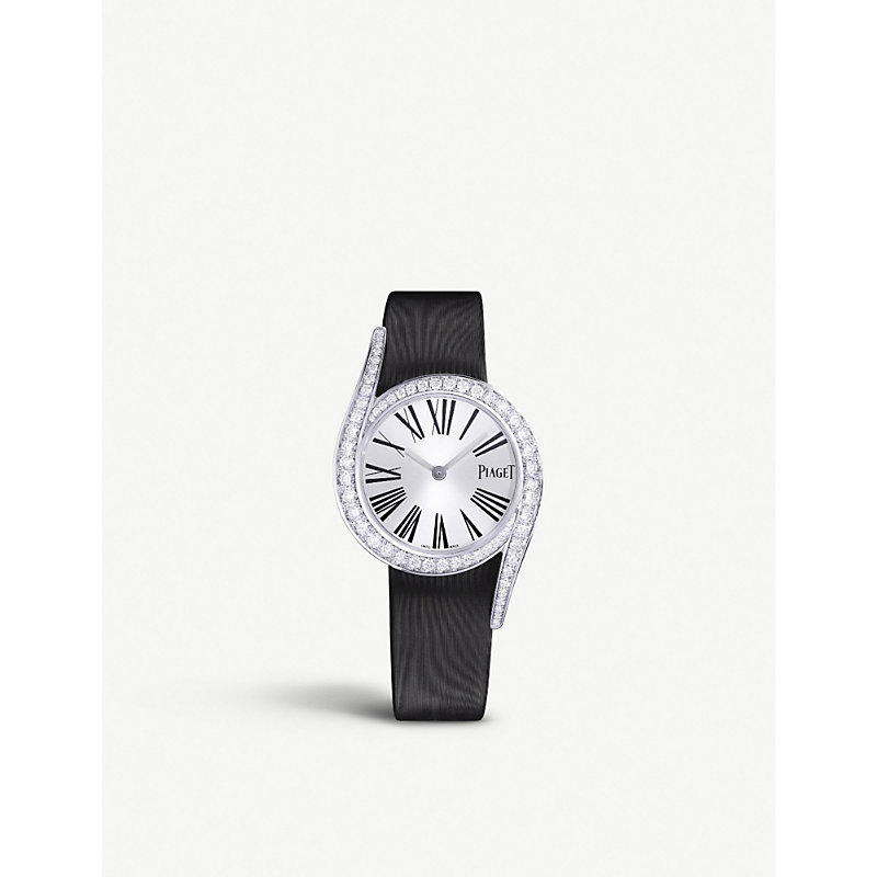 PIAGET | G0A42150 Limelight Gala 18ct White-Gold, Diamond And Satin Watch | Goxip