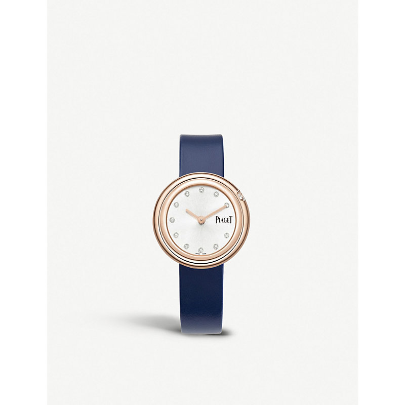 PIAGET | G0A43081 Possession 18ct Rose-Gold, Diamond And Leather Watch | Goxip