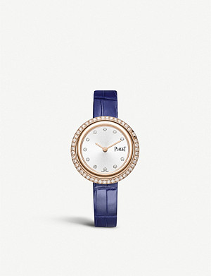 PIAGET G0A43092 Possession 18ct rose-gold, diamond and leather watch