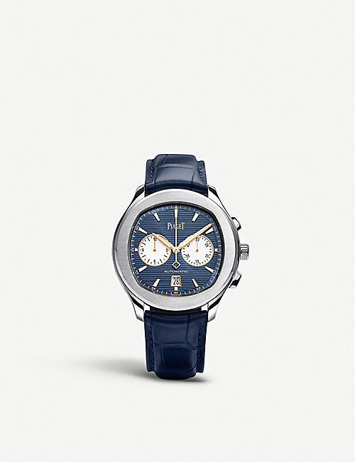 PIAGET G0A43590 Polo S stainless steel and leather chronograph watch