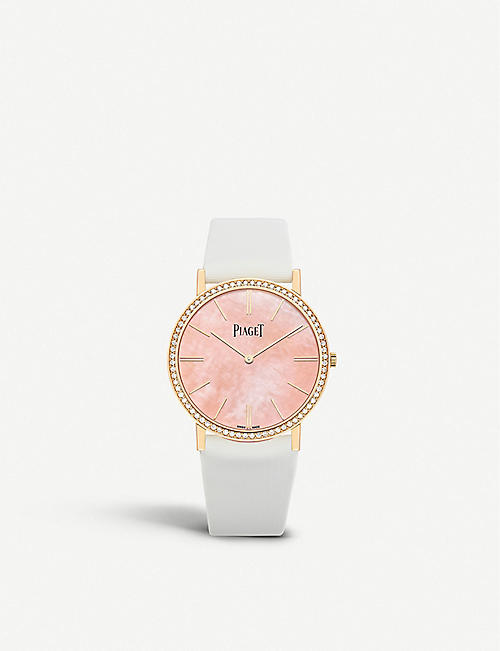 PIAGET: G0A44060 Altiplano 18ct rose-gold, diamond and leather watch