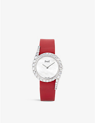 PIAGET: G0A44160 Limelight Gala diamond, 18ct white-gold and leather watch