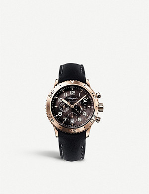 BREGUET G3810BR929ZU Type XX/XX2 rose gold and leather strap chronograph watch