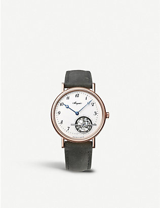 BREGUET: 5367BR/29/9WU Tourbillon Extra Plat 18ct rose-gold and leather automatic watch