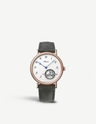 BREGUET 5367BR/29/9WU Tourbillon Extra Plat 18ct rose-gold and crocodile leather automatic watch
