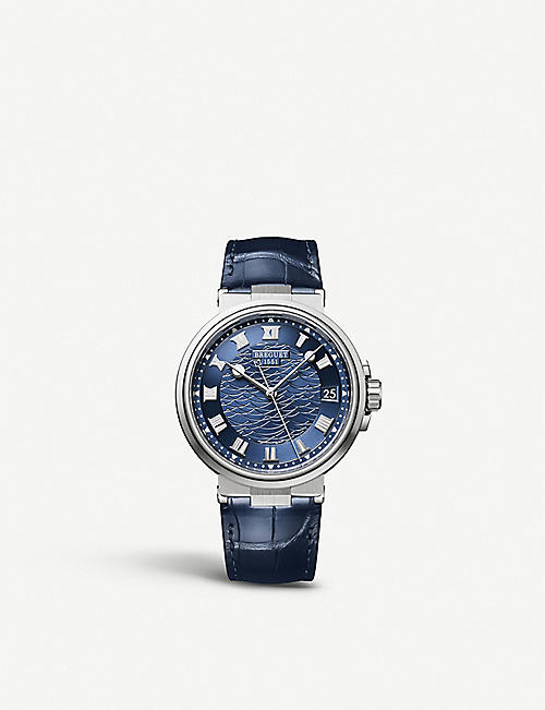 BREGUET G5517BBY29ZU Marine Date white gold and leather watch