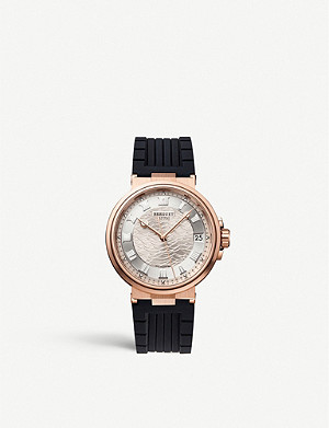 BREGUET G5517BR129ZU Marine Date rose-gold and leather watch