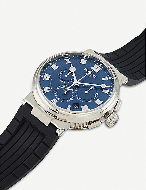 BREGUET 5527BB/Y2/9WV Marine white-gold and crocodile-embossed leather watch