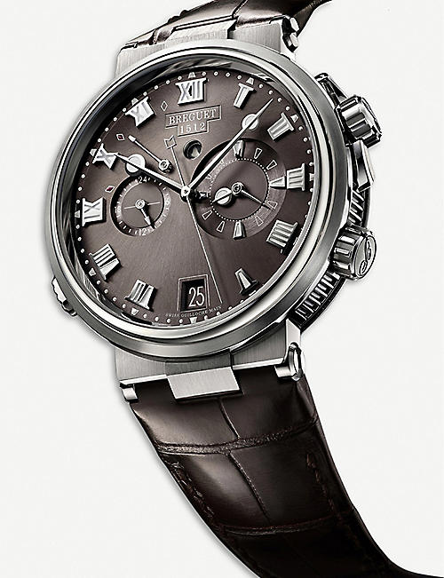 BREGUET G5547TIG29ZU Marine Alarm Musicale titanium and leather watch