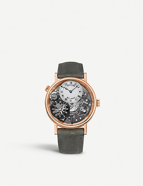 BREGUET G7067BRG19W6 Tradition 18ct rose-gold and leather watch