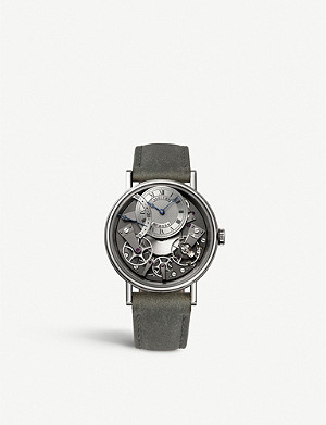 BREGUET G7097BB/G1/9WU Tradition 18ct white-gold and leather watch