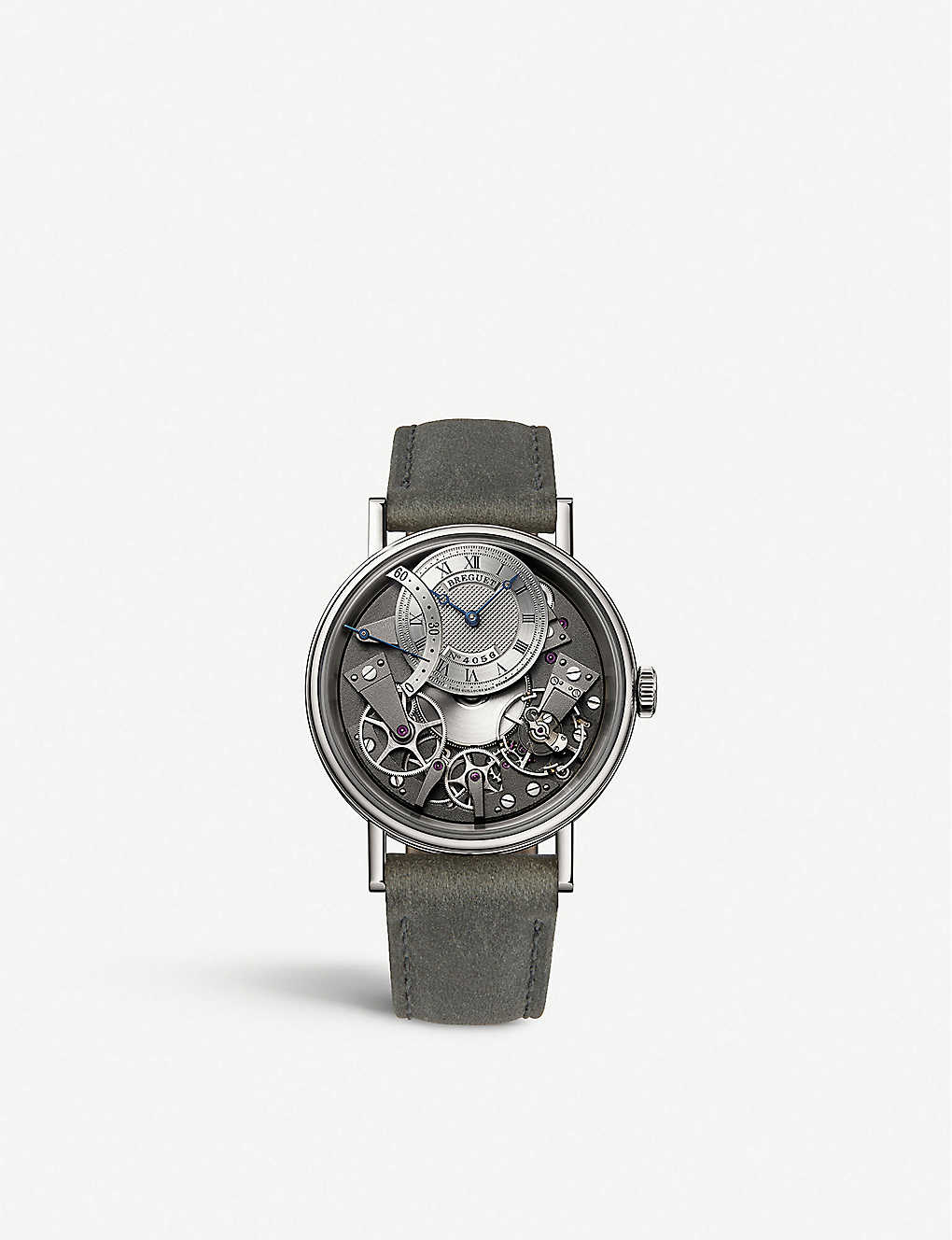 BREGUET: G7097BB/G1/9WU Tradition 18ct white-gold and leather watch