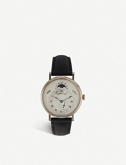 BREGUET: 7337BB/1E/9V6 Classique 18ct white-gold and alligator-embossed leather watch