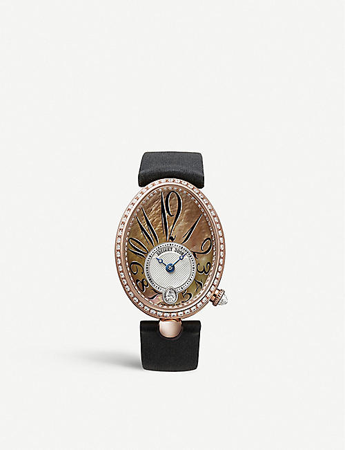 BREGUET: G8918BR5T964D00D Queen of Naples 18ct rose-gold, diamond and leather watch