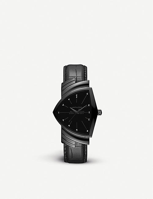 HAMILTON: H24401731 Ventura stainless steel and leather watch