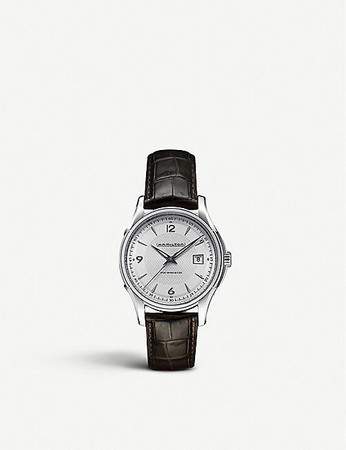 HAMILTON: H32411555 Jazzmaster Gent Quartz stainless-steel and leather watch