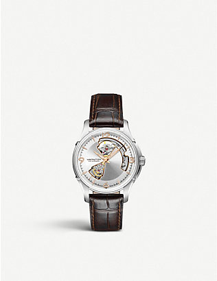 HAMILTON: H32565555 Jazzmaster Open Heart Automatic stainless-steel and leather watch