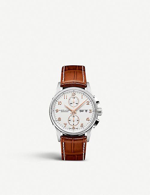 HAMILTON H32576515 Jazzmaster Maestro stainless steel and leather strap chronograph watch