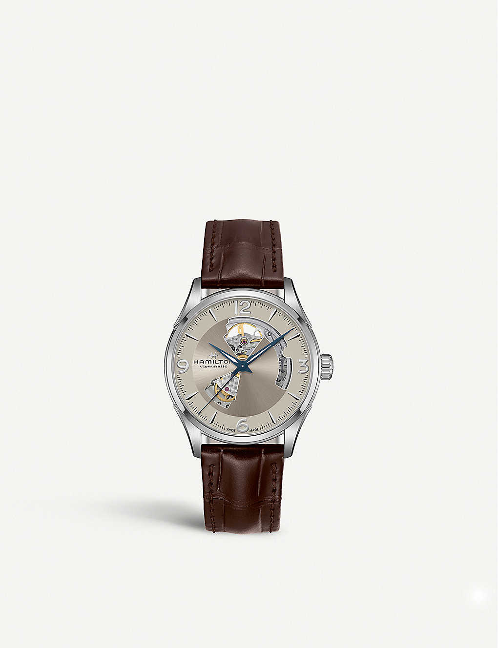 HAMILTON: H32705521 Jazzmaster Open Heart stainless steel and leather watch