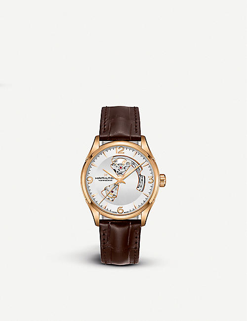 HAMILTON H32735551 Jazzmaster Open Heart gold-plated stainless steel and leather watch