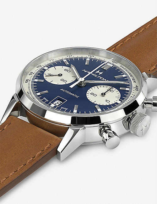HAMILTON H38416541 Intra-matic Auto Chrono stainless steel and leather watch