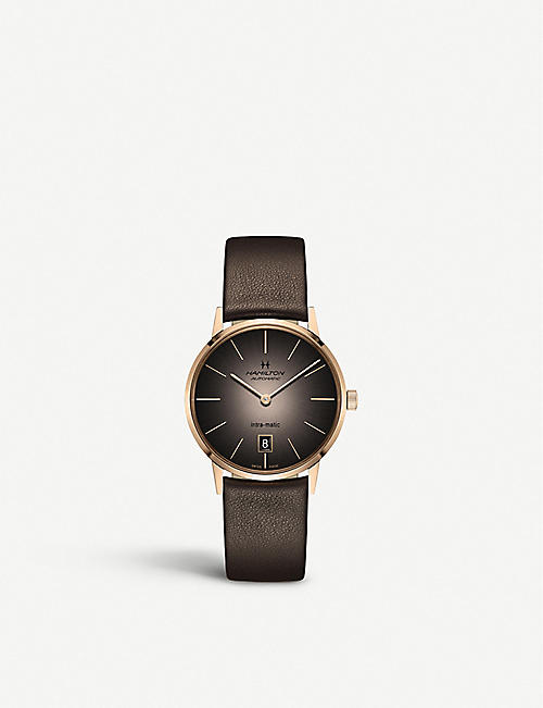 CALVIN KLEIN: H38465501 Intra-matic rose-gold plated stainless steel and leather watch