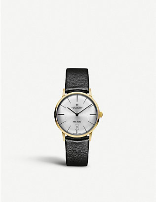 HAMILTON: H38475751 Intra-matic yellow-gold plated stainless steel and leather watch