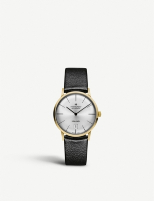 HAMILTON H38475751 Intra-matic yellow-gold plated stainless steel and leather watch
