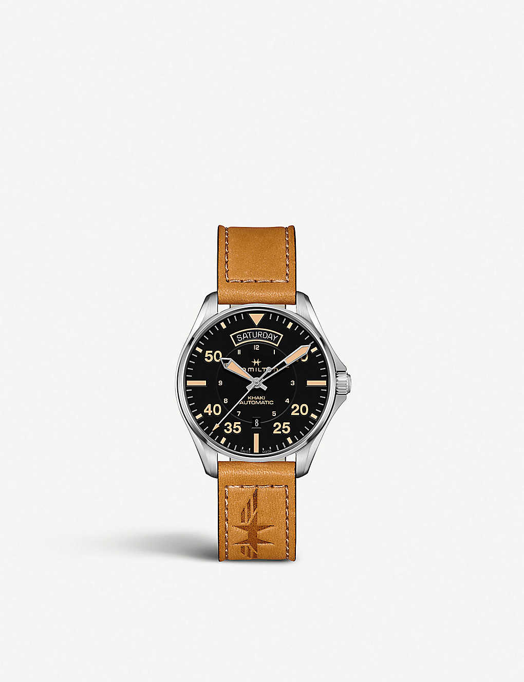 92fc37a37 HAMILTON H64645531 Khaki Aviation Day Date stainless steel and suede watch