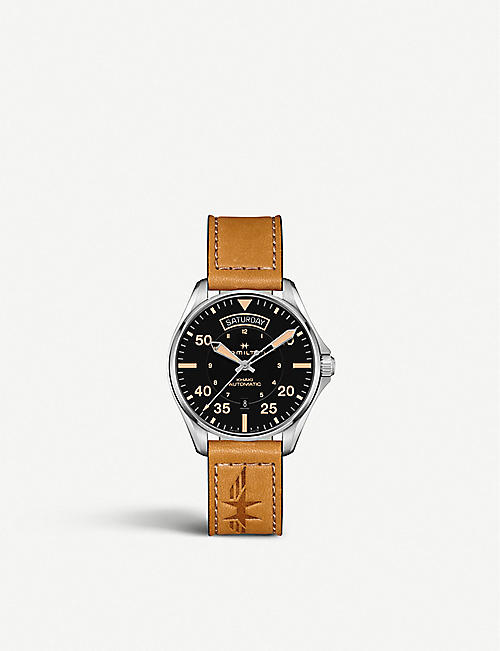 HAMILTON: H64645531 Khaki Aviation automatic stainless-steel and leather watch