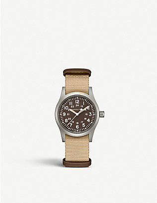 HAMILTON: H69439901 Khaki Field Mechanical steel and canvas watch